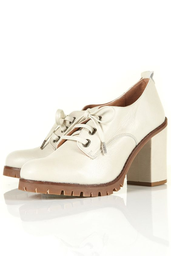Joey Mid Cleated Sole Lace Ups (White)