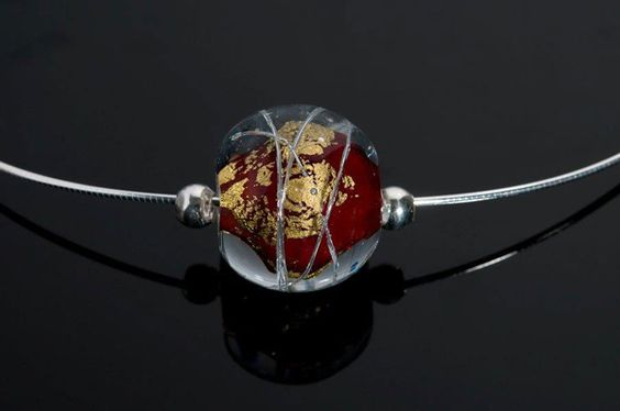 """Becky Congdon """"Red Cosmos Omega"""" handmade flamework beads with SS components http://www.westendgallery.net/"""