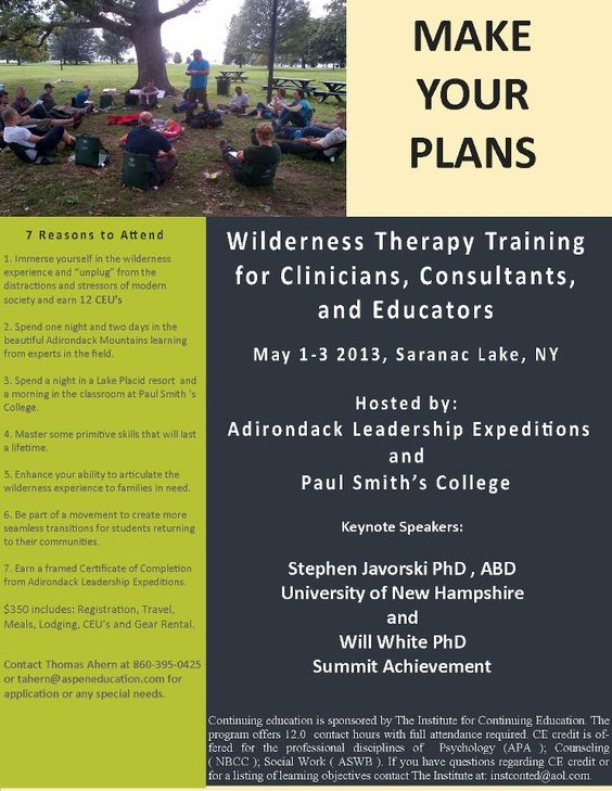 Wilderness therapy program for adults