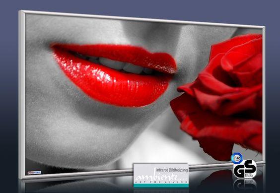 Red Lips: Ein beliebtes und sehr ästhetisches Motiv in der Erotic-Art. Hier auf der Infrarot Bildheizung 600 Watt. Übrigens: Infrarot Bildheizungen von infranomic benötigen deutlich weniger Strom als übliche Elektroheizungen. Es wird kein Elektrosmog erzeugt.