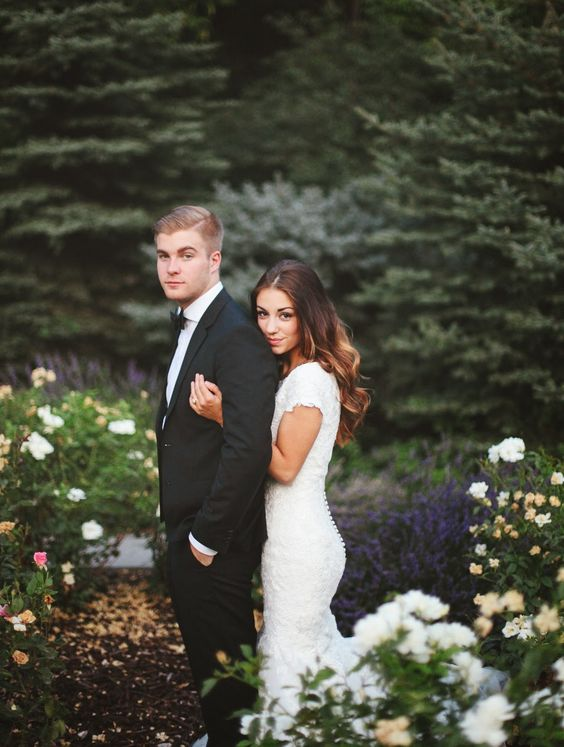 romantic photo of the bride and groom