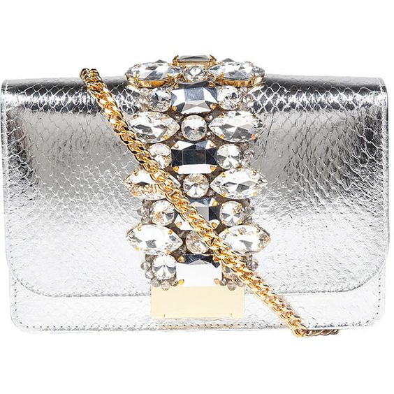 Gedebe Snake Skin Prnt Embellished Clutch Bag ($695) ❤ liked on Polyvore featuring bags, handbags, clutches, silver, the label monster, snake skin handbags, white handbags, embellished handbags, white purse and white clutches