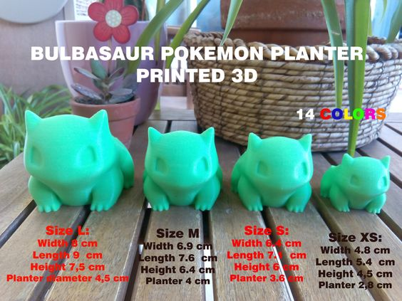 Pokemon Bulbasaur Planter printed 3D Different Sizes. by A3Dspain
