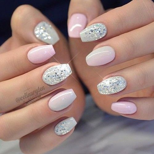Pink With Silver Glitter Short Coffin Nails Designs Coffin