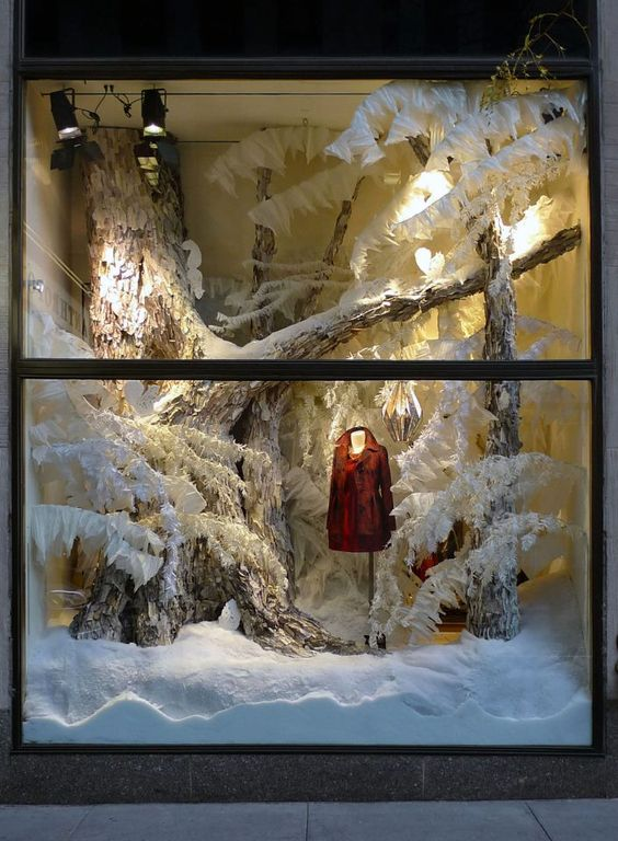 Illustration artists christmas window display and snow on for Anthropologie store decoration ideas
