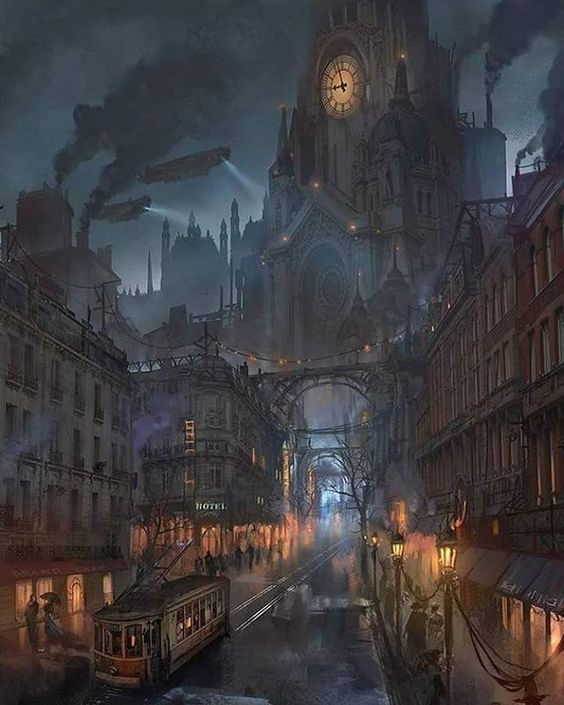 """steampunktendencies: """"Lyonesse City by Flaviobolla #steampunktendencies…"""
