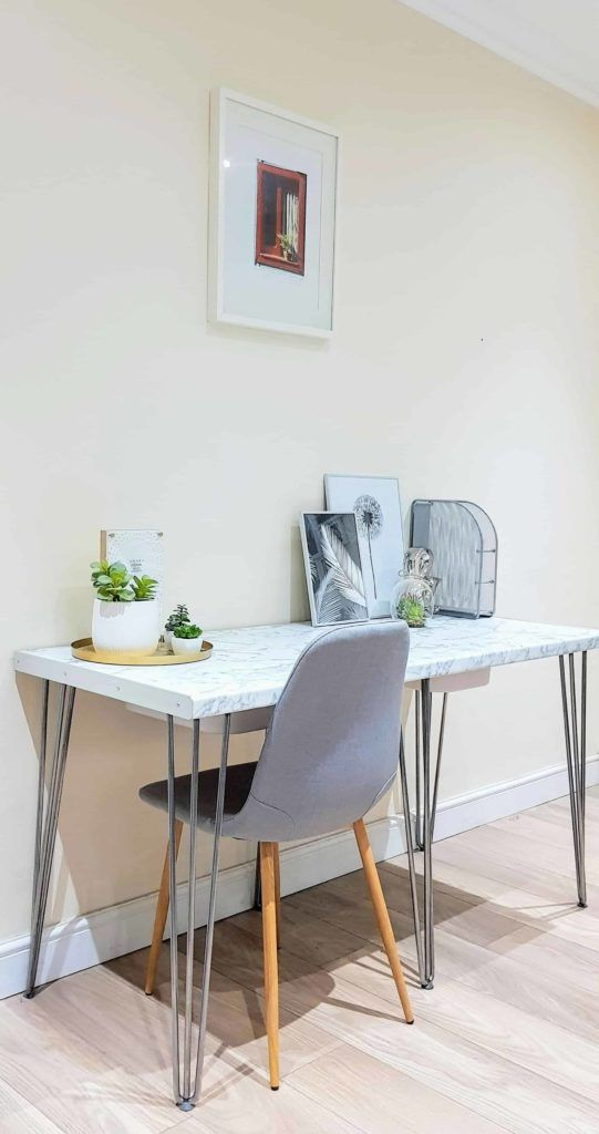How To Make A Marble Laminate Desk With Hairpin Legs Marble Desk Marble Tables Living Room Marble Tables Design