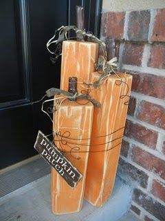 scrap wood pumpkins!: Fall Decoration, 4X4 Pumpkin, Wood Pumpkin, Pumpkin Patch, Wooden Pumpkin, Fence Post, Holiday Idea