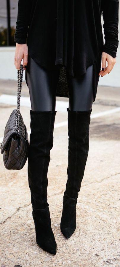 Zoe Leather Look Leggings - Black RESTOCKED | Knee High ...