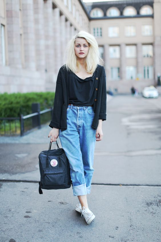 like the cardigan, boyfriend jeans and sneakers combo. i would ditch the raggedy shirt for something more crisp..