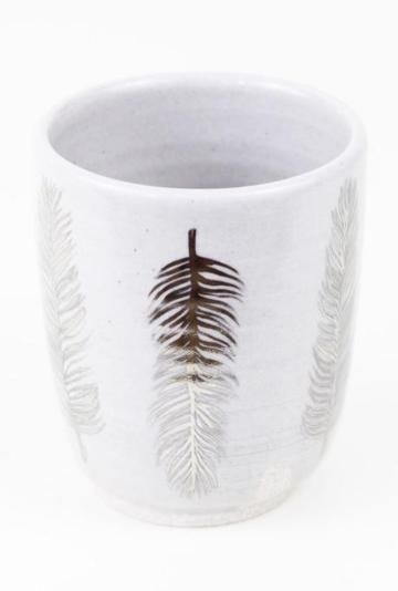 Beautiful, hand-thrown + hand-painted Large Feather Tumbler $40