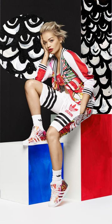 rita ora red superstar adidas shoes