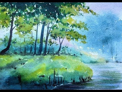 717 Watercolor Painting Landscape Trees Silhouetted Against A