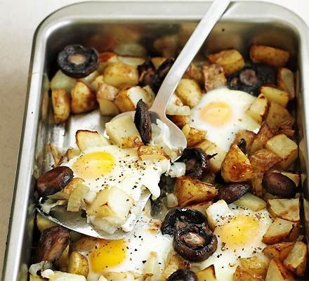 Healthy egg & chips - had this for tea tonight as part of a fast day. It was really tasty and a substantial amount . Two substitions though - I used low calorie spray instead of oil and cherry tomatoes as I had no mushrooms. Definately be trying this again (maybe as breakfast next time)!