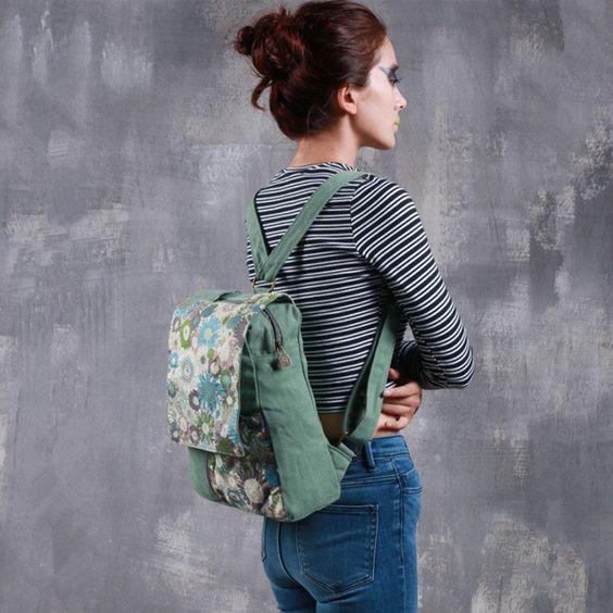 Canvas cool back to school girls backpacks bag