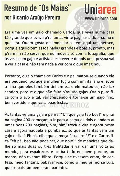 Os Maias Ricardo Araujo Pereira Resumo Dos Maias Araujo Gajas