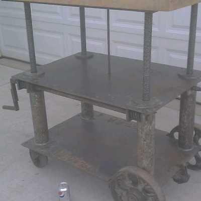 Adjustable vintage industrial table cart butcher block