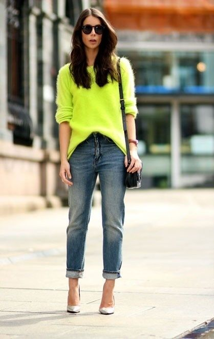 A neon sweater seems overwhelming, but looks cool and casual with boyfriend jeans.