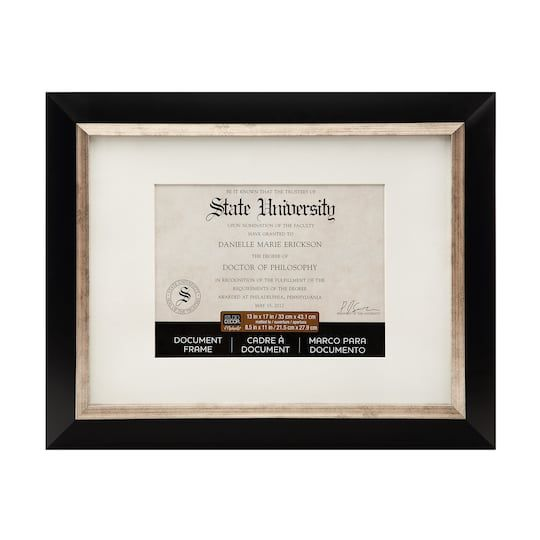 Shop For The Black Silver Document Frame 13 X 17 With 8 5 X 11 Mat By Studio Decor At Michaels 17 Document Frame Studio Decor Black Decor
