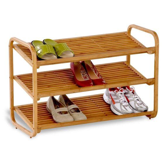 3 Tier Shoe Rack Bamboo Storage Shelf Honey Can Do Sho 01599 New Wood Organizer  #HoneyCanDo