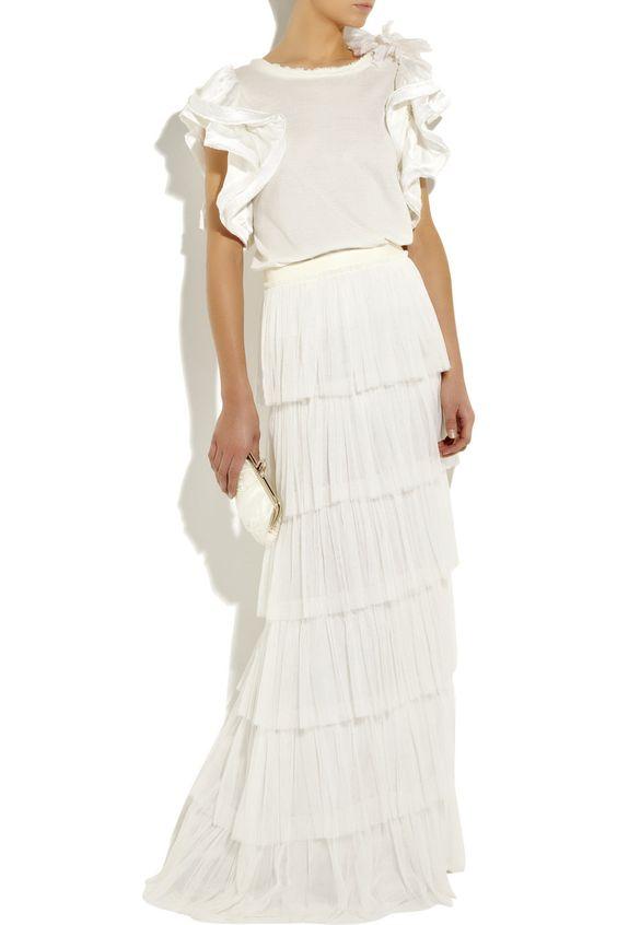 Lanvin Silk-blend tiered skirt