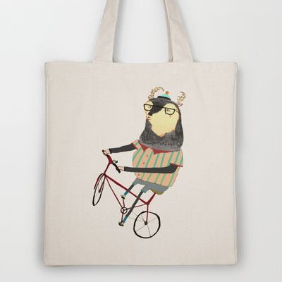 Deer Loving Bike! Tote Bag by Ashley Percival Illustrator - $18.00