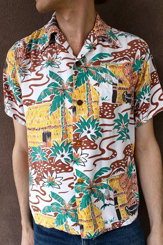 Vintage 1940's RARE Men's HAWAIIAN Shirt TIKI Print- I like wearing mens tiki shirts tied up! breaking the rules lol