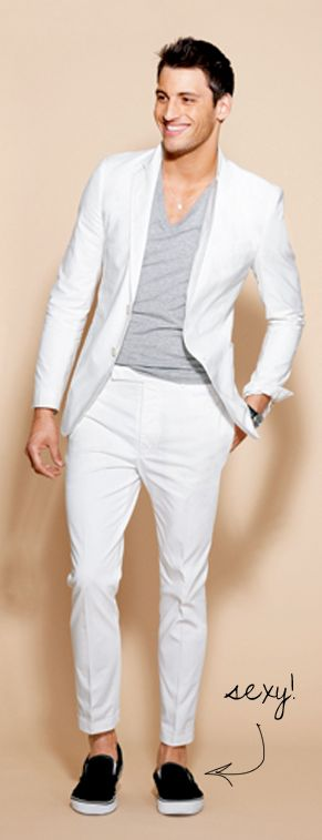 white suit gray shirt sockless mens style trend boat shoes pretty