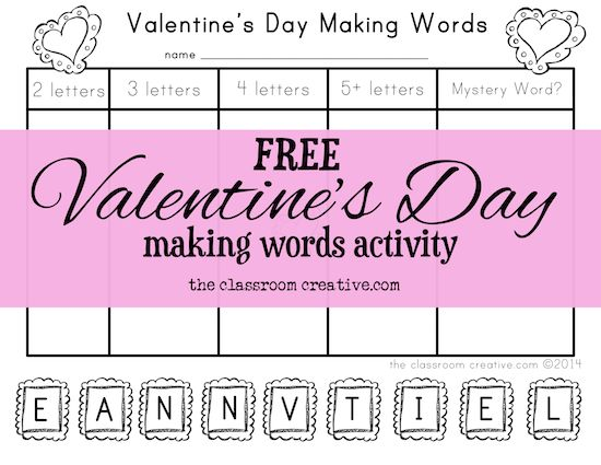 Perfect for lessons next week FREE Valentines Day making words