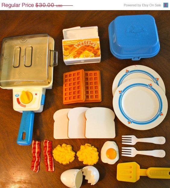 Vintage Fisher Price Super Skillet Breakfast Set - Still have this too, and the frying pan still crackles lol