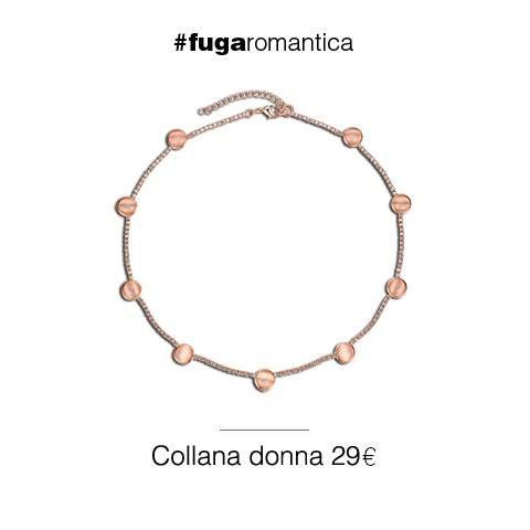 Collana in metallo, con pietra occhio di gatto rosa pesca e bagno in oro rosa Luca Barra Gioielli. #collana #donna #ororosa #lucabarra #tendenzemoda #primaveraestate2015