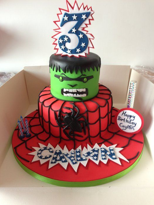 hulk and spiderman cakes spiderman and hulk theme by donnajanecakes cakesdecorcom