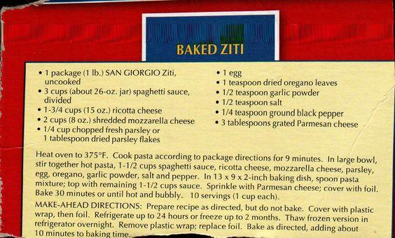 Baked Ziti By San Giorgio Pasta Recipes And Favorite