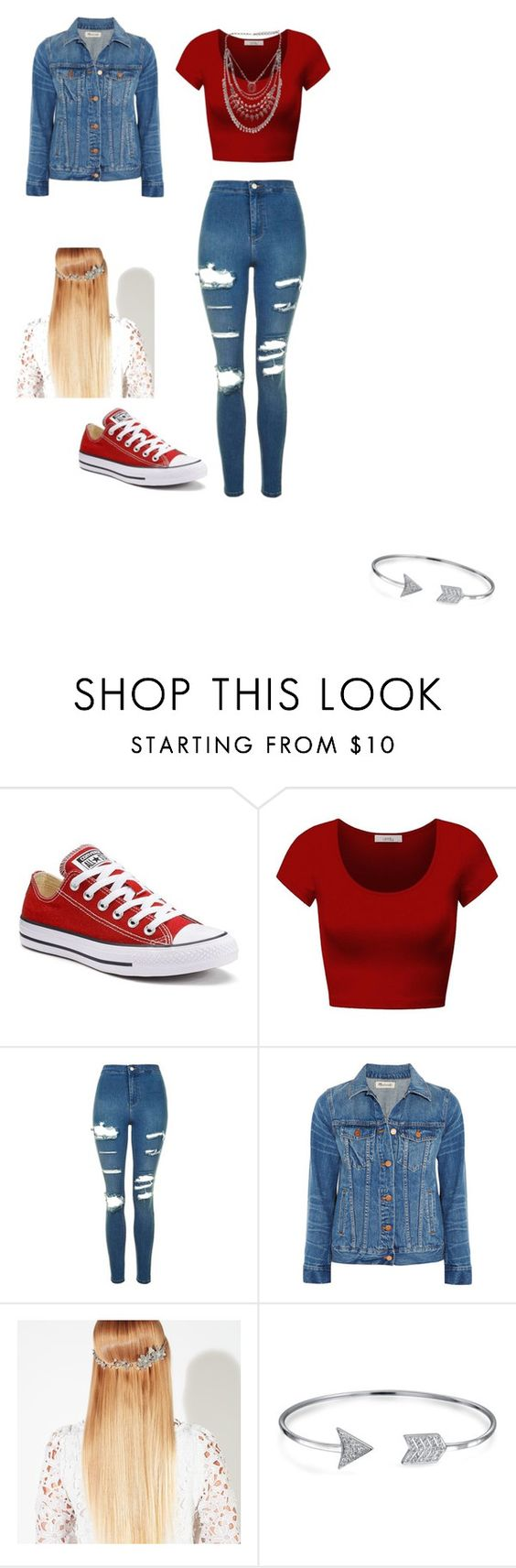 """""""Red.."""" by gyorgyvanda on Polyvore featuring Converse, DK, Topshop, Madewell, John Lewis and Bling Jewelry"""