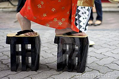 Japanese Women Wearing Traditional Zori Shoes