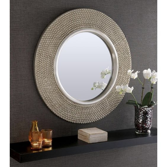 Rome Large Round Silver Stud Framed Wall Mirror 31