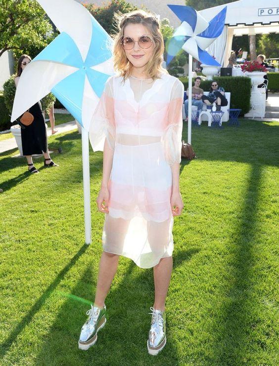 """PALM SPRINGS, CA - APRIL 15:  Actress Kiernan Shipka attends Emily Ratajkowski…"