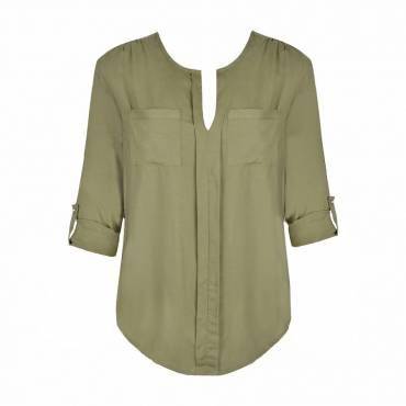 Relaxed style rayon shirt with tab sleeve detail.  Rounded notch neckline with pockets to front.