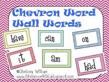 Chevron Word Wall Words