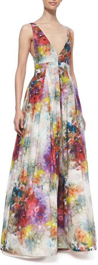 Alice + Olivia Chantal Floral-Print Sleeveless Gown on shopstyle.com