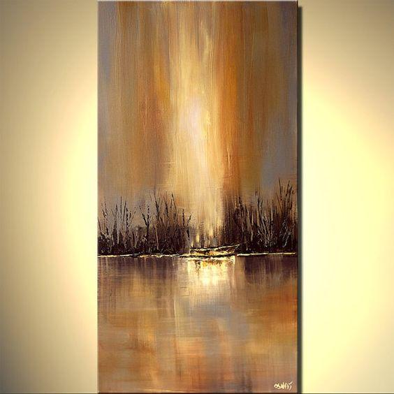 Peinture acrylique contemporain abstrait paysage peinture bateau rivi re par osnat sur - Paysage peinture facile ...