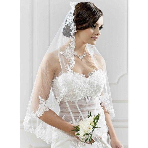 Voile de mariage long en dentelle et perles Caterina