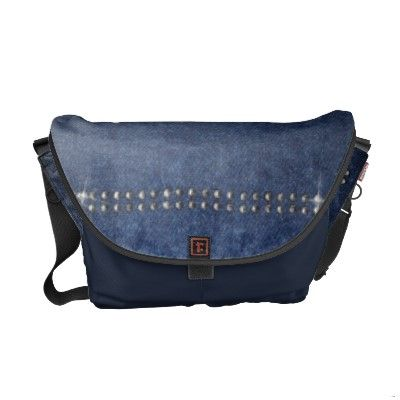 Blue Denim and Crystals Messenger Bag © crazycolors' store on Zazzle!