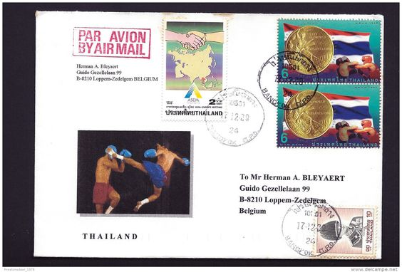 POSTAL USED COVER - THAILAND TO BELGIUM - 1996 - ( Boxing, Olympic gold medal, King, EU - ASIA meeting ) - Delcampe.net