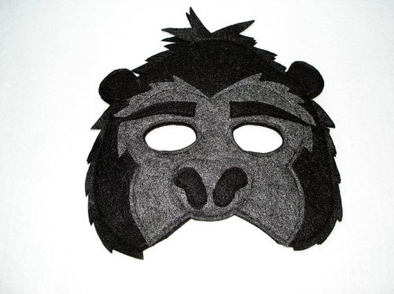 Children's Jungle Animal GORILLA Felt Mask by magicalattic on Etsy, $12.50