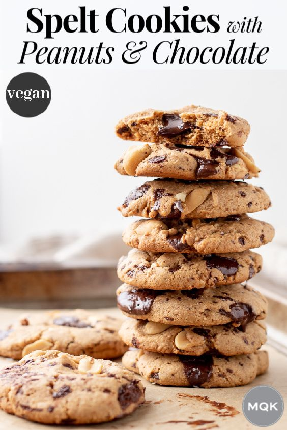 Spelt Cookies With Peanuts And Chocolate Recipe Vegan Baking Recipes Food Vegan Baking