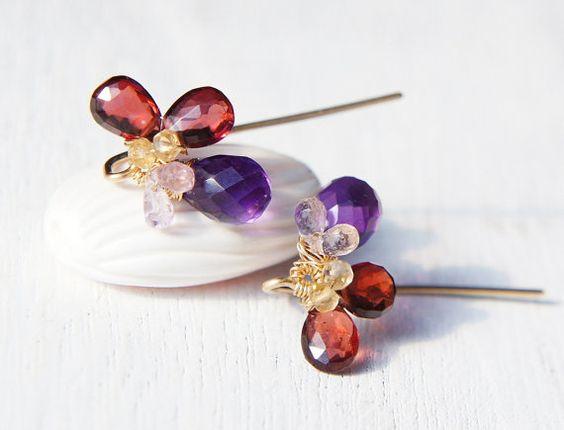 Red Garnet Earrings January Birthstone Earrings by Yukojewelry