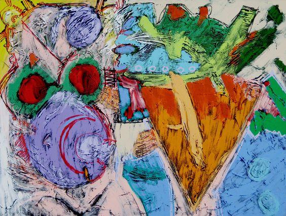 "MATT FOLEY: ""Big Mama"" - Mixed media on canvas - 30"" h x 40"" w"