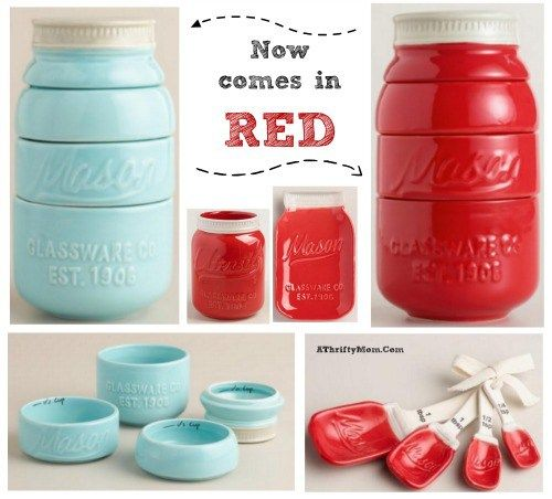 Ceramic mason jar sets red kitchen decor ideas unique for Mason jar kitchen ideas