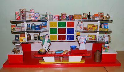 Ancienne picerie jouet ancien en bois datant des ann es 1950 avec ses a - Epicerie ancienne jouet ...